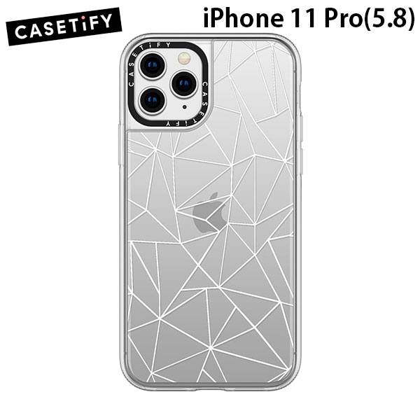 Casetify iPhone 11 Pro grip case Abstraction Outline White Transparent