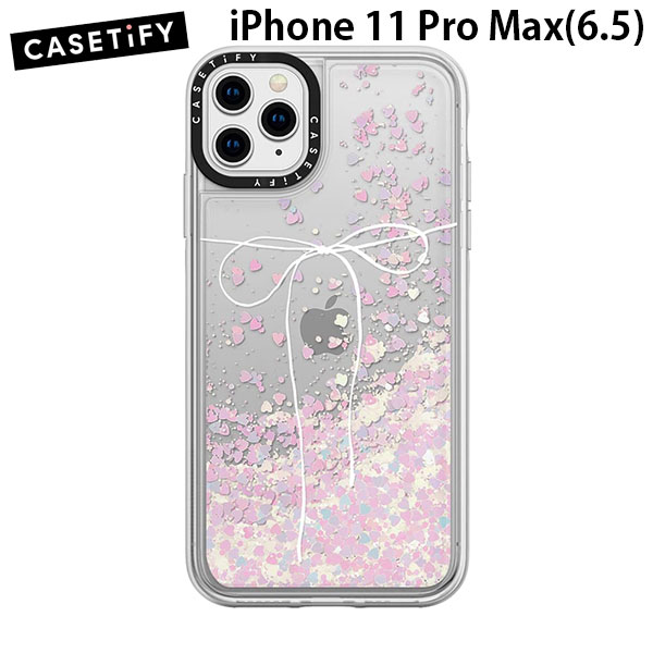 Casetify iPhone 11 Pro Max glitter case TAKE A BOW II - BLANC