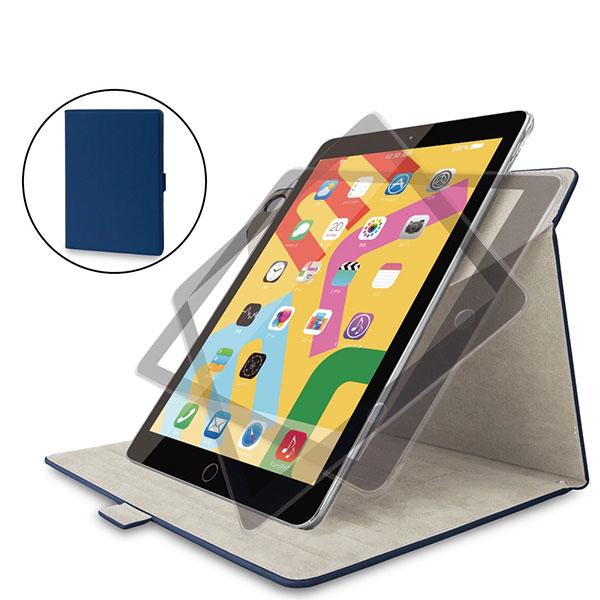 エレコム iPad 7th フラップケース ソフトレザー 360度回転 ネイビー