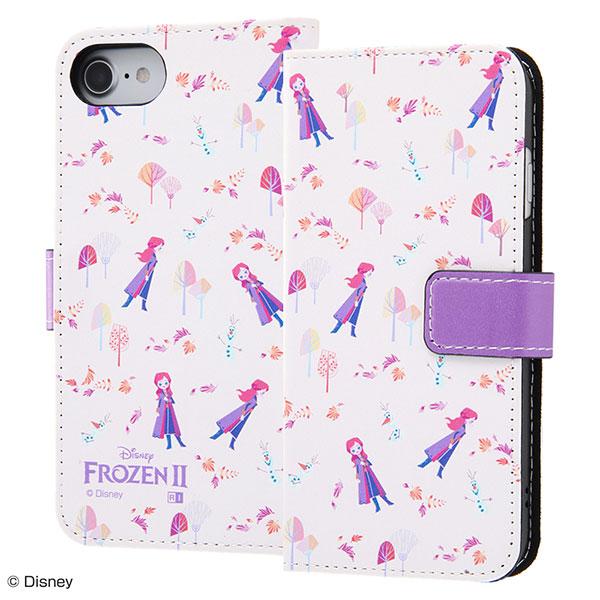 ingrem iPhone SE 第2世代 / 8 / 7 / 6s / 6 ディズニー 手帳型 マグネット レザーアートケース アナと雪の女王2 アナ オラフ