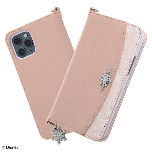 ingrem iPhone 11 Pro ディズニーキャラクター 手帳型 レザーケース Collet チャーム付き アナと雪の女王 / OTONA ピンク