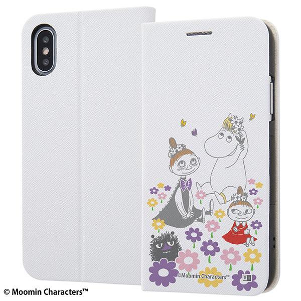 ingrem iPhone XS / X ムーミン 手帳型ケース マグネットタイプ ミムラ ムーミン ミイ お花畑