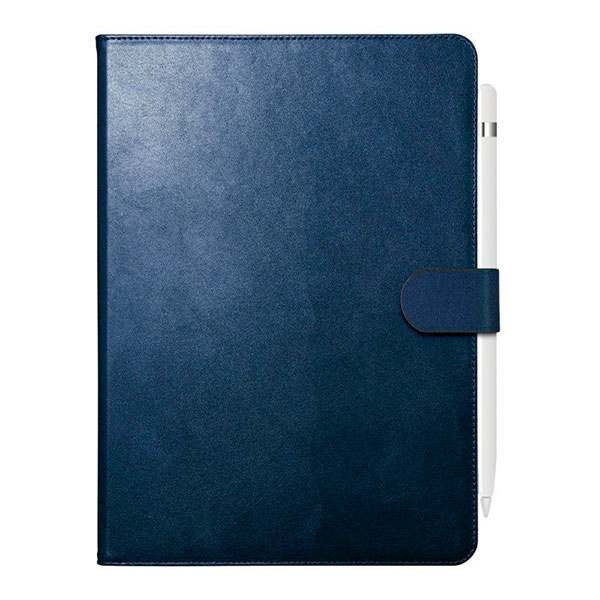 BUFFALO iPad 7th 2アングルレザーケース ブルー