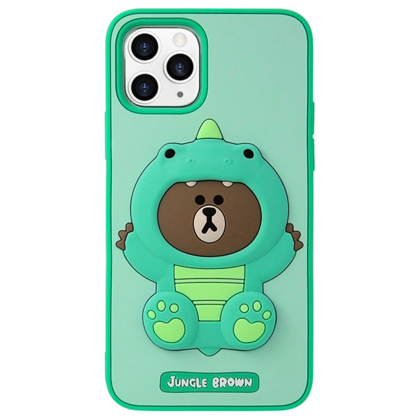 LINE FRIENDS iPhone 11 Pro LINE FRIENDS SILICON ダイノブラウン