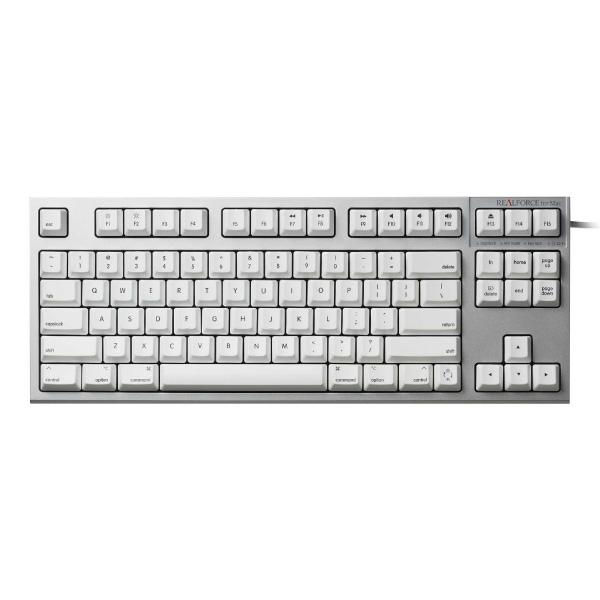 東プレ REALFORCE TKL for Mac 英語配列 有線 テンキーレスキーボード 87キー 変荷重 無接点スイッチ 昇華印字 シルバー/白 R2TL-USVM-WH