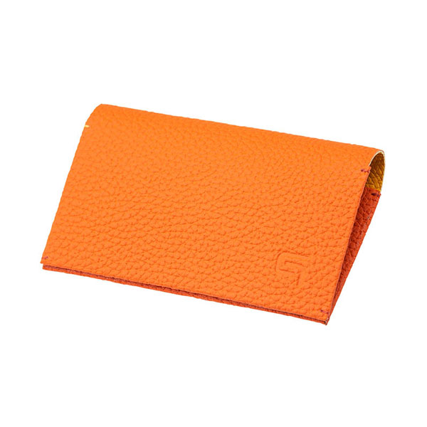 "GRAMAS Shrunken-calf ""HAAWASE"" Card Case Orange×Yellow"