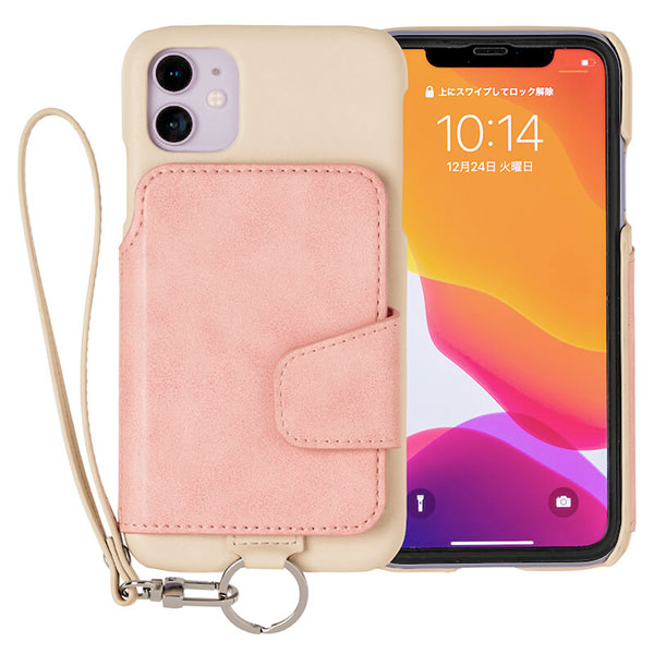 RAKUNI iPhone 11 Soft Leather Case ベージュピンク