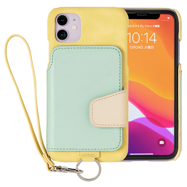 RAKUNI iPhone 11 Soft Leather Case イエローグリーン