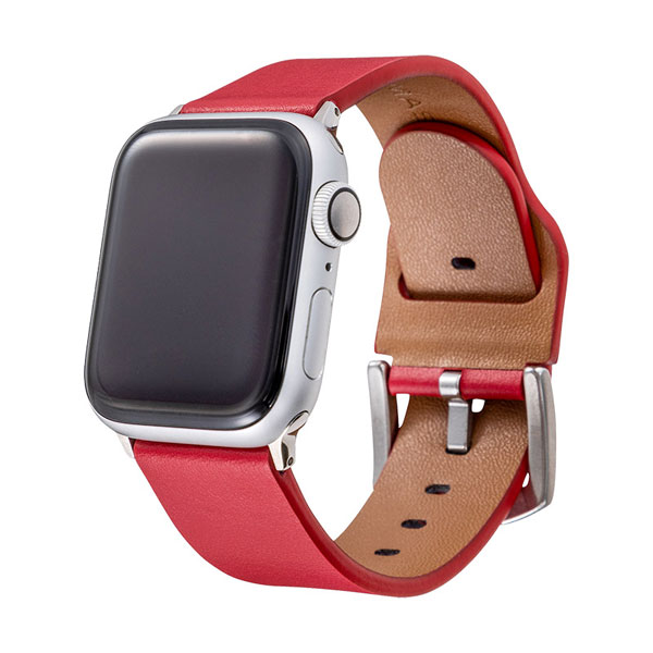 GRAMAS Apple Watch 42mm / 44mm Italian Genuine Leather Watchband レッド