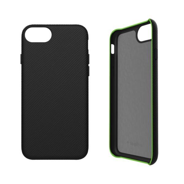 Simplism iPhone SE 第2世代 / 8 / 7 / 6s / 6 [NUNO] バックケース サフィアーノブラック+蛍光グリーン