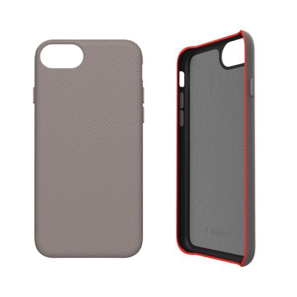 Simplism iPhone SE 第2世代 / 8 / 7 / 6s / 6 [NUNO] バックケース サフィアーノグレージュ+蛍光レッド