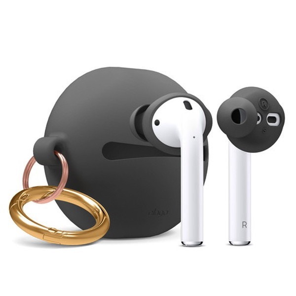 elago Airpods EAR BUDS COVER BASIC & POUCH Dark Gray