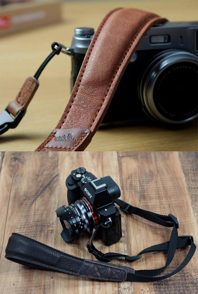 植物性タンニング鞣し高級レザー製カメラストラップ