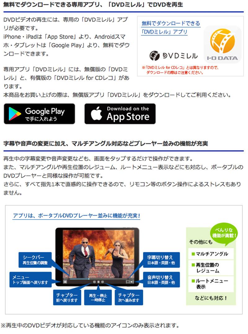 再生アプリ「DVDミレル」は機能豊富なDVDプレーヤー